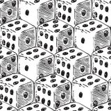 Seamless Pattern with White Dices. Seamless Pattern with White Dice for Gambling. Hand Drawn. Black and White Royalty Free Stock Photo