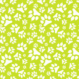 Seamless pattern with white dog footprint and claws isolated on green background. Vector illustration Royalty Free Stock Photos