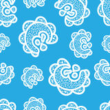 Seamless pattern. White doodle elements on blue background. Ornaments for web. Stock Photography