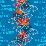 Seamless pattern with white dotted bats and  blots. Halloween background with traditional symbol. Royalty Free Stock Image