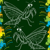 Seamless pattern with white dotted Mantis religiosa or Praying Mantis and colorful blots Stock Images