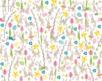 Seamless pattern with white easter rabbits Stock Image