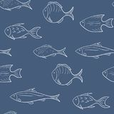Seamless pattern with white fish on a blue background. Vector. Seamless pattern with white fish on a blue background Royalty Free Stock Photos