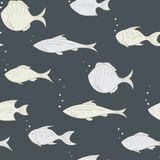 Seamless pattern with white fish on a dark background. Vector. Seamless pattern with white fish on a dark background Stock Photos