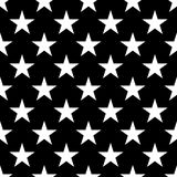 Seamless pattern of white five-pointed stars on black background. Vector illustration Stock Images