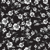 Seamless pattern of white flowers on a black background. Abstract blooming apple tree in black and white colors. Vector illustration stock illustration