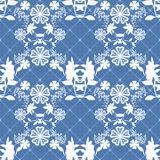 Seamless pattern with white flowers on blue Stock Image