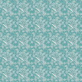 Seamless pattern with white flowers and butterflies. On a green background Stock Image