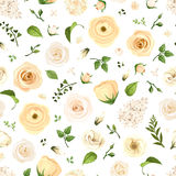 Seamless pattern with white flowers and green leaves. Vector illustration. Stock Photos