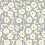 Seamless pattern with white flowers and leaves isolated on grey Stock Photo