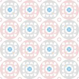 Seamless pattern of white flowers in pink and grey circles. Stock Image