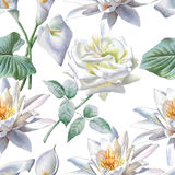 Seamless pattern with white flowers. Rose. Calla. Lily. Stock Photos