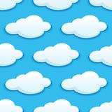 Seamless pattern of white fluffy clouds Stock Images