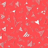 Seamless pattern of white flying hearts on a red background. Vector doodle texture Royalty Free Stock Image