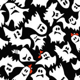 Seamless pattern of white ghosts Stock Photo