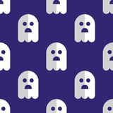 Seamless pattern white ghosts halloween background Royalty Free Stock Images