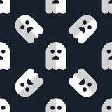 Seamless pattern white ghosts halloween background Royalty Free Stock Image