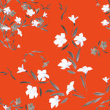 Seamless pattern white and gray  flowers on a red background Stock Images