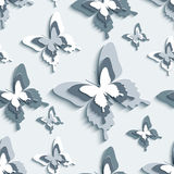 Seamless pattern with white - grey 3d butterflies Stock Photography