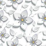 Seamless pattern with white, grey 3d sakura Stock Photos