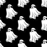 Seamless pattern of white Halloween ghosts Stock Image