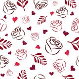 Seamless pattern with white hand pink, burgundy and red rose silhouettes, branches and hearts on a white background royalty free illustration