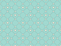 Seamless pattern with white heart and dot on a turquoise background for Valentine's Day. Vector Illustration. Stock Photography