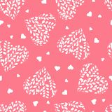 Seamless pattern with white hearts. Branches with leaves in the heart. Valentine day. Seamless pattern with white hearts on pink background. Branches with vector illustration