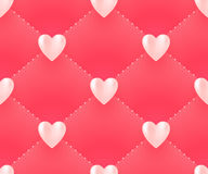 Seamless pattern with white hearts on a pink background for Valentine's Day. Vector Illustration. Stock Image