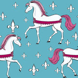 Seamless pattern with white horses Stock Photo
