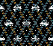 Seamless pattern with white king crowns on a dark black background and gold stripes. Vector Illustration. Stock Images