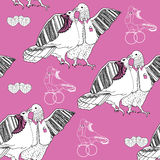 Seamless pattern of white kissing doves on pink Stock Photos