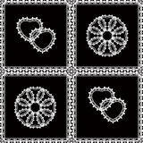 Seamless pattern white lace   texture ,   black background Stock Image