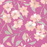 Seamless pattern with white and lilac  flowers Royalty Free Stock Image