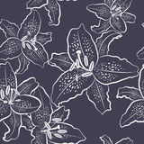 Seamless pattern, white lily on a black background. Vector illustration vector illustration