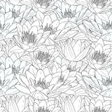 Seamless pattern with white lily flowers. Decorative floral illustration Royalty Free Stock Image