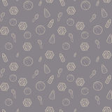 Seamless pattern with white line art icon of baby cubes, feeding bottles and stacking rings. Vector illustration. Royalty Free Stock Photography
