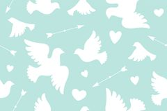 Seamless pattern with white love doves Royalty Free Stock Photo
