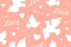 Seamless pattern with white love doves Royalty Free Stock Images