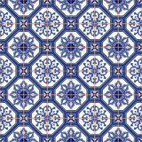 Seamless  pattern  white Moroccan, Portuguese  tiles, Azulejo, ornaments. Gorgeous seamless  pattern from dark blue and white Moroccan, Portuguese  tiles Stock Images