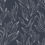 Seamless pattern of white outline leaves on an dark background Royalty Free Stock Photography