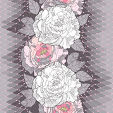 Seamless pattern with white peony, ornate leaves and decorative pink lace on the gray background. Stock Photography