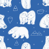 Seamless pattern with white polar bears. Hand drawn, doodle vector background. Stock Photography