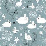 Seamless pattern of white rabbits Stock Photos