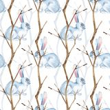Seamless pattern with white rabbits and dry branches. Watercolor illustration Royalty Free Stock Images
