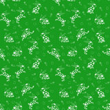Seamless pattern with white rabbits over green Stock Photo