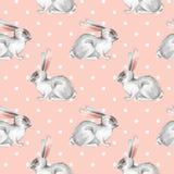 Seamless pattern with white rabbits 5. Seamless pattern with white rabbits. Watercolor illustration Royalty Free Stock Photos