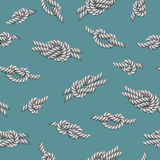 Seamless pattern with white ropes and marine knots over green background Royalty Free Stock Images