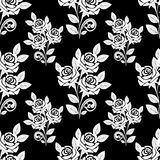Seamless Pattern with white Roses on the black Background. Stock Photo