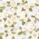 Seamless pattern with white roses on blue. Royalty Free Stock Photo